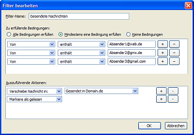 Vorschau Anlegen eines Filters für gesendet Nachichten im Thunderbird