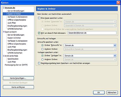 Vorschaubild auf das Mailkonten-Konfigurationsfenster unter Thunderbird