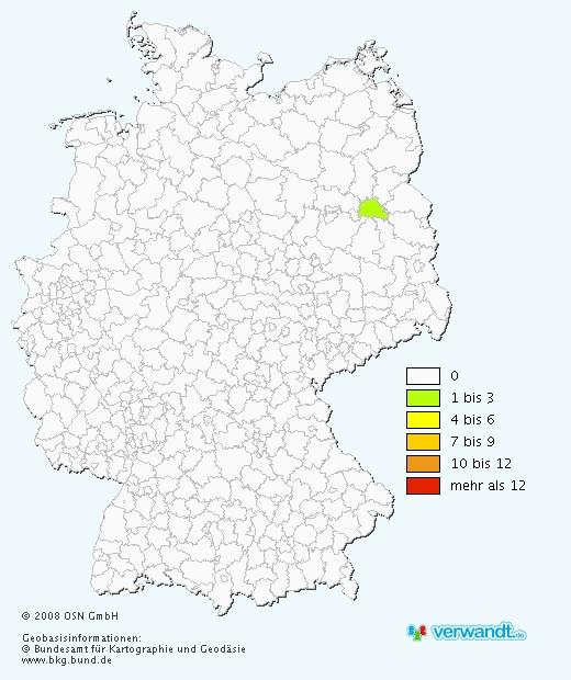 """Verbreitung des Namens """"Binksma"""" in Deutschland (Quelle; www.verwandt.de)"""